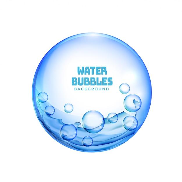 격리 된 파란색 투명 물 거품 배경 무료 벡터