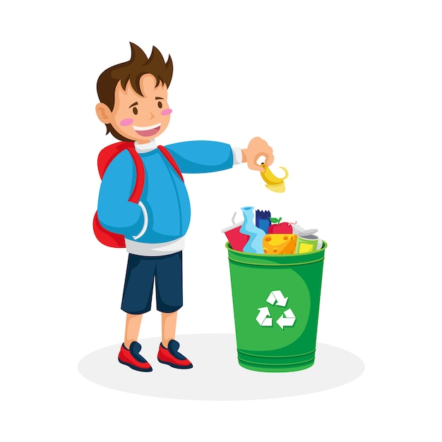 Isolated boy recycling Vector | Premium Download