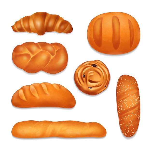 Изолированные хлебобулочные реалистичные значок набор с различными формами и вкусом хлеба хлебов иллюстрации Бесплатные векторы