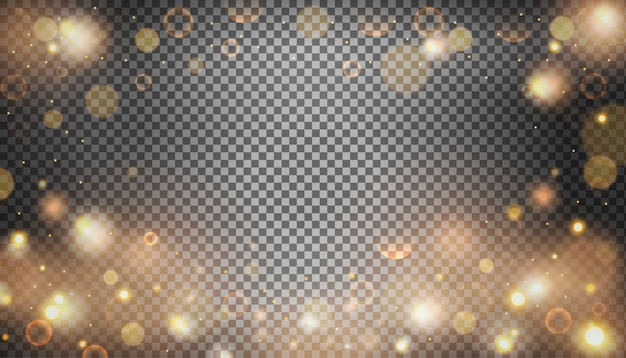Isolated bright bokeh effect on a transparent background. Free Vector