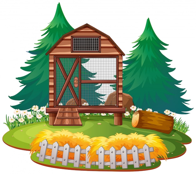 Isolated cage in the zoo Free Vector
