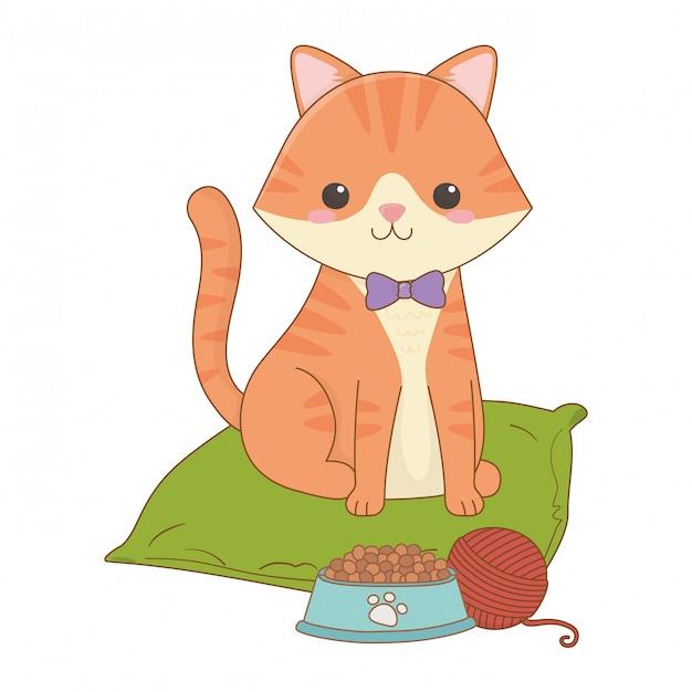 Isolated cat cartoon clip-art illustration Premium Vector