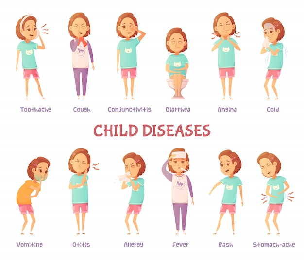 Isolated characters set with cartoon girl anxious for different child disease symptoms Free Vector