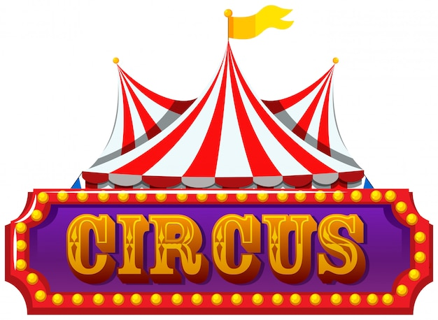 An isolated circus banner Free Vector
