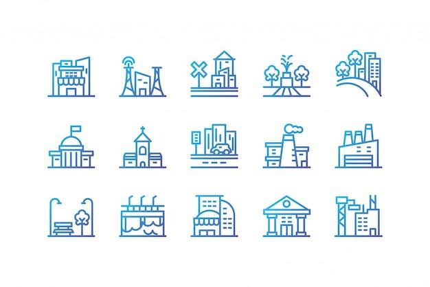 Isolated city buildings icon set vector design Premium Vector