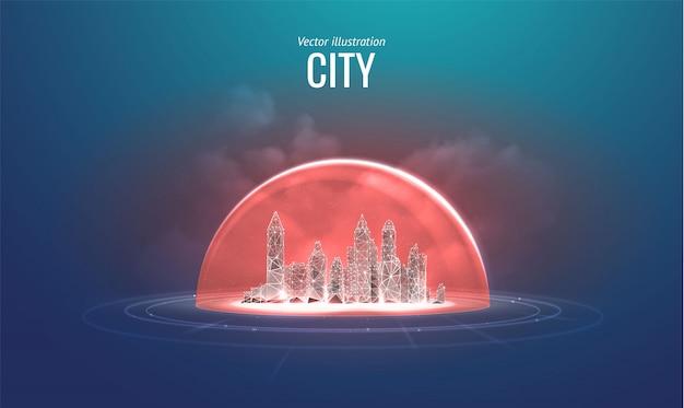 Изолированный город. концепция защиты и изоляции от внешних факторов риска. Premium векторы