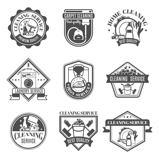 Isolated cleaning icons set Free Vector