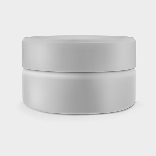 Isolated closed gray cream jar Premium Vector