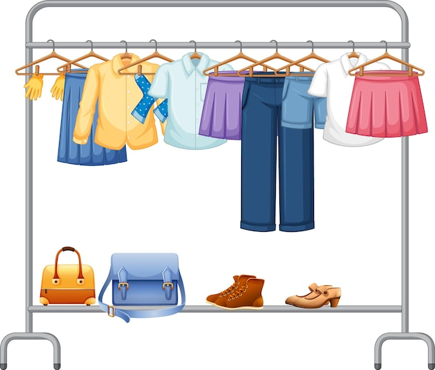 Isolated clothes on the rack display Free Vector