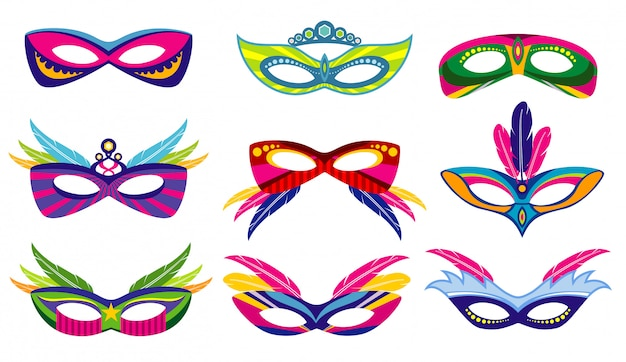 Isolated color mardi gras masks collection Premium Vector