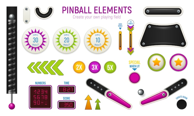Isolated and colored pinball horizontal icon set with different elements of deck Free Vector