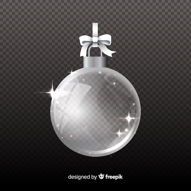 Isolated crystal christmas ball on transparent background Free Vector