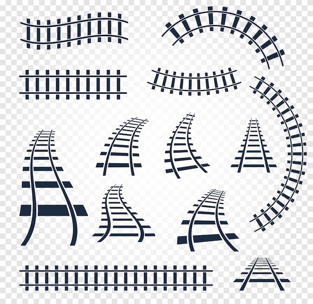 Isolated curvy and straight rails set on white Premium Vector