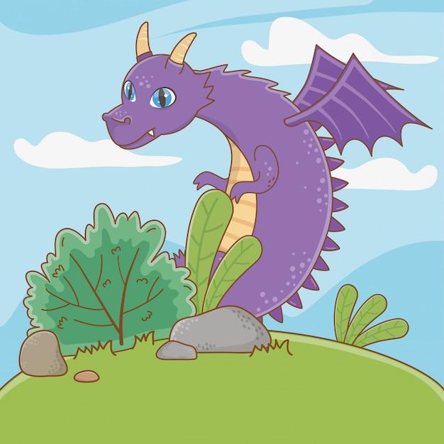 Изолированная иллюстрация шаржа дракона Premium векторы