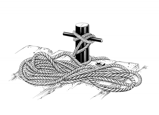 Isolated drawing of mooring rope in black color. Premium Vector