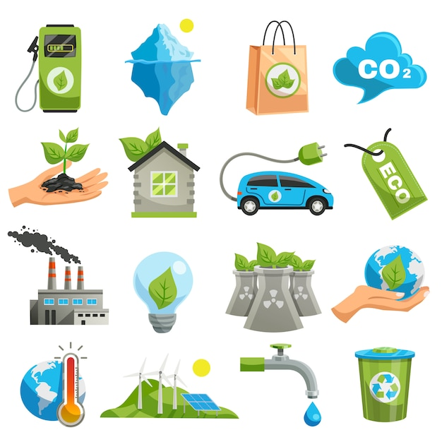 Isolated eco icon set Free Vector