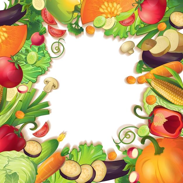 空白の背景に現実的な野菜の果物とスライスのシンボル概念構成に囲まれた孤立した白丸 無料ベクター