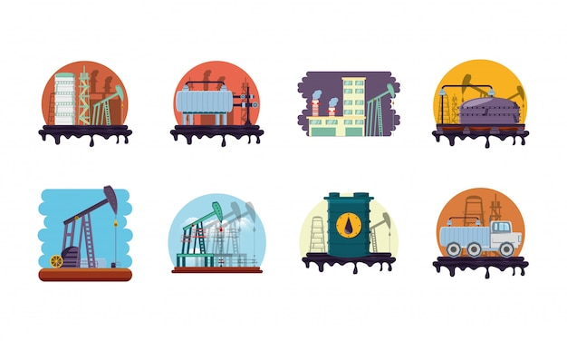 Isolated factory icon set Premium Vector