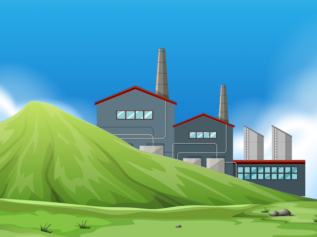 Isolated factory in nature Free Vector