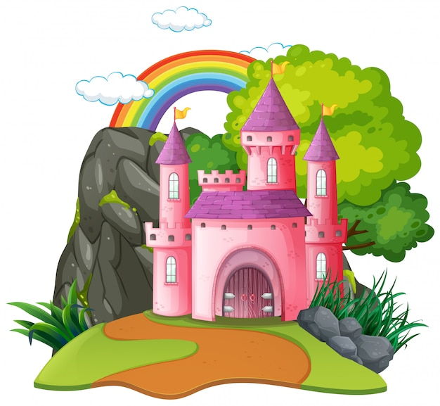 Isolated fantasy medieval castle Free Vector