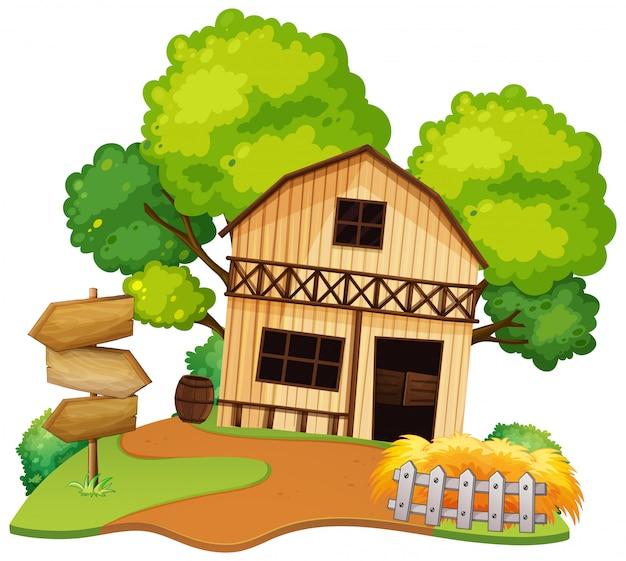 Casa isolata dell'agricoltore su fondo bianco Vettore gratuito