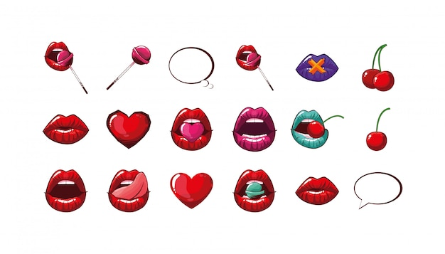 Isolated female mouths set Premium Vector