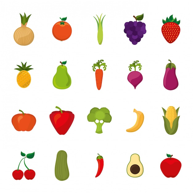 Isolated fruits and vegetables icon set Free Vector