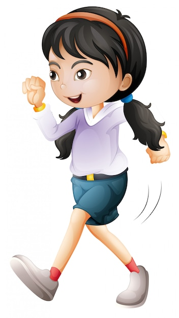 Isolated girl character walking Free Vector