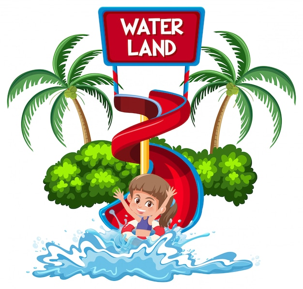 Isolated girl in water park Premium Vector