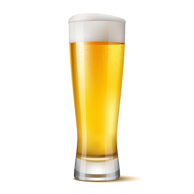 Isolated glass of beer Premium Vector
