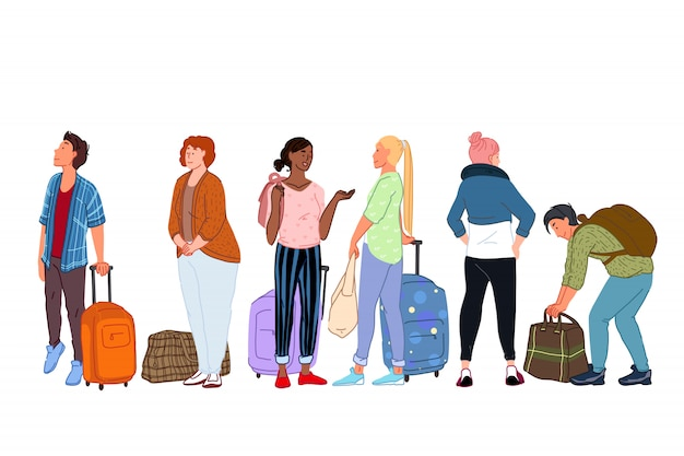 Isolated group of cartoon characters going on trip and waiting for departure Premium Vector