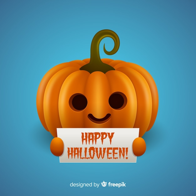 Isolated halloween pumpkin holding sign Free Vector