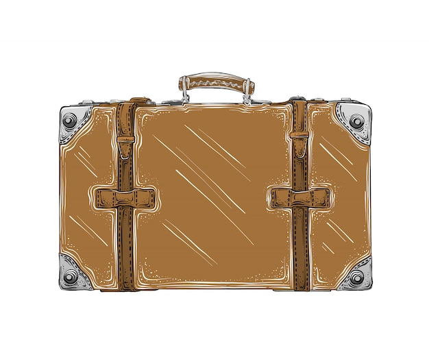 Isolated hand drawn sketch of retro suitcase in brown color Premium Vector