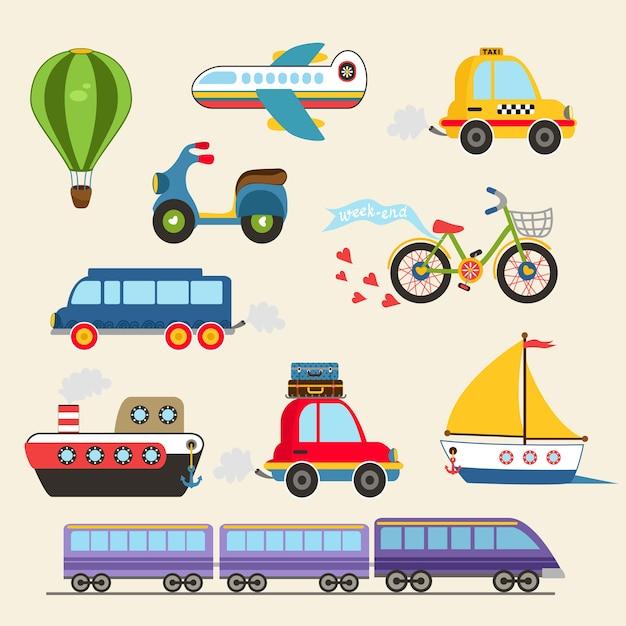 Изолированные рисованной транспорт набор векторные иллюстрации Бесплатные векторы