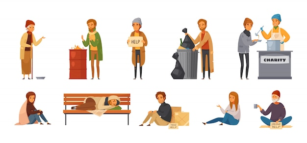 Isolated homeless people cartoon icon set with different age sex and types of homeless people Free Vector