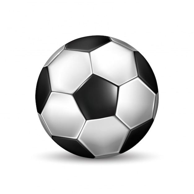 Изолированные иллюстрации реалистичный черный и белый футбольный мяч на белом  фоне   Премиум векторы