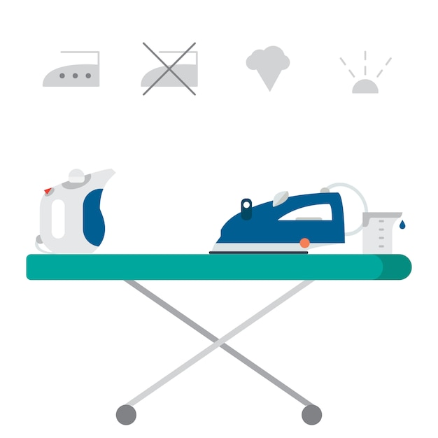 Isolated iron and hand steamer with symbols on ironing board and beaker. Premium Vector