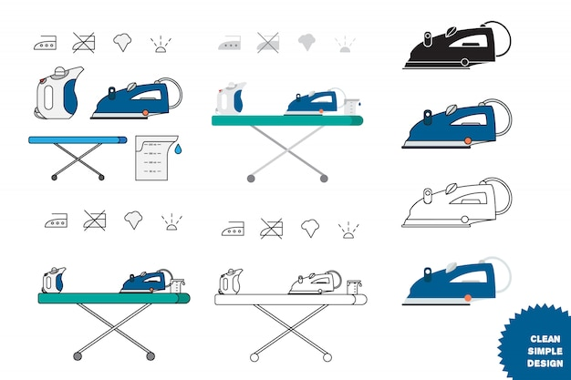Isolated iron and hand steamer Premium Vector