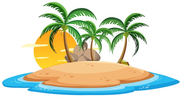 Isolated island on white background Premium Vector