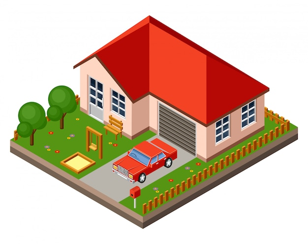 Isolated isomatic cottage. country life. garage. green grass. lawn. swing. Premium Vector