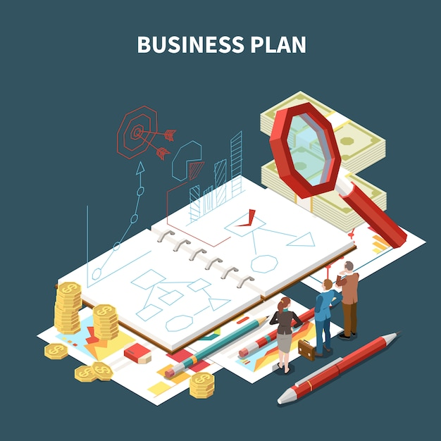 Isolated isometric business strategy composition with business plan description and abstract items  illustration Free Vector