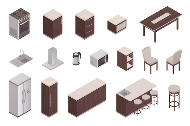 Isolated isometric elements of kitchen interior with refrigerator table oven microwave washer ventil Free Vector