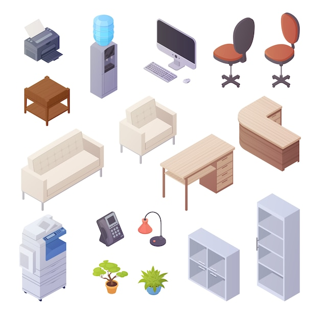 Isolated isometric elements of office interior with desk cooler chairs computer sofa printer book sh Free Vector