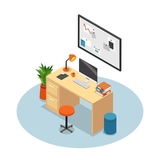 Isolated and isometric office composition workplace with desk monitor chair and table vector illustration Free Vector