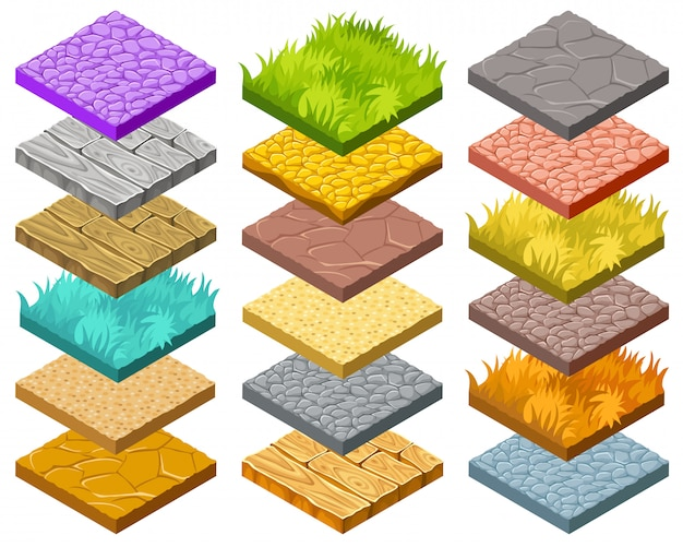 Isolated isometric tiles for computer game. Free Vector