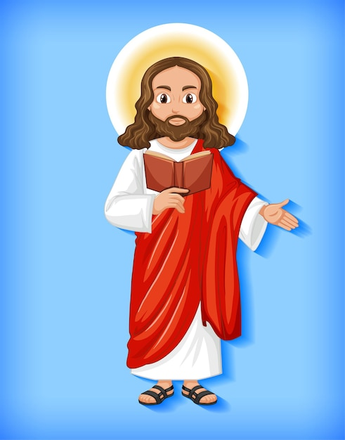孤立したイエスの漫画のキャラクター 無料ベクター