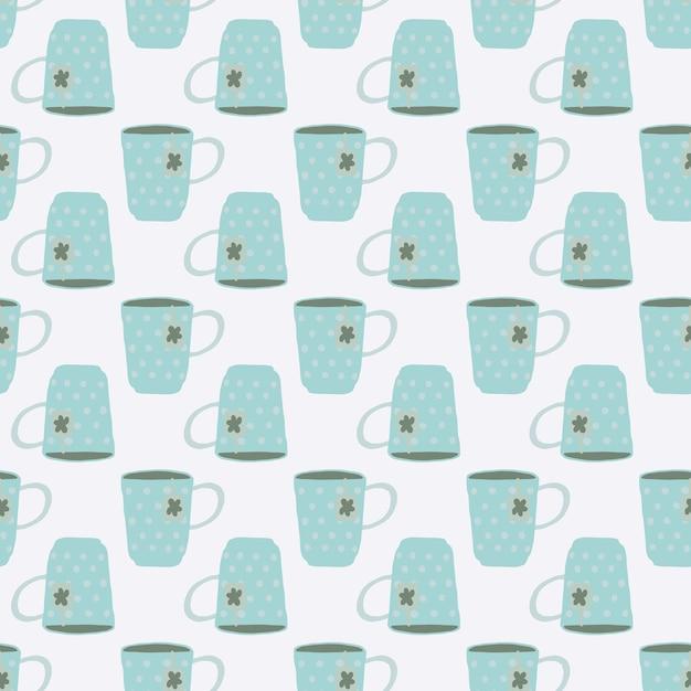 孤立したライトブルーティーカップ落書きシームレスパターン。白色の背景。シンプルなキッチンスタイルのアートワーク。壁紙、テキスタイル、包装紙、布プリントの装飾的な背景。 。 Premiumベクター