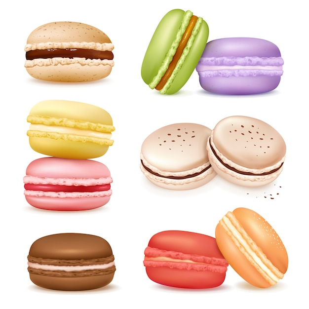 Isolated macaroon goods set Free Vector