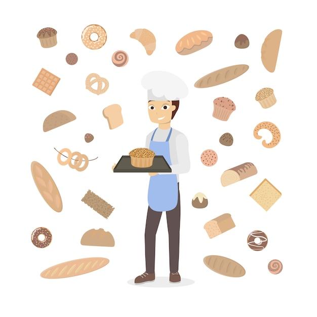 白のペストリーと孤立した男のパン屋。 Premiumベクター