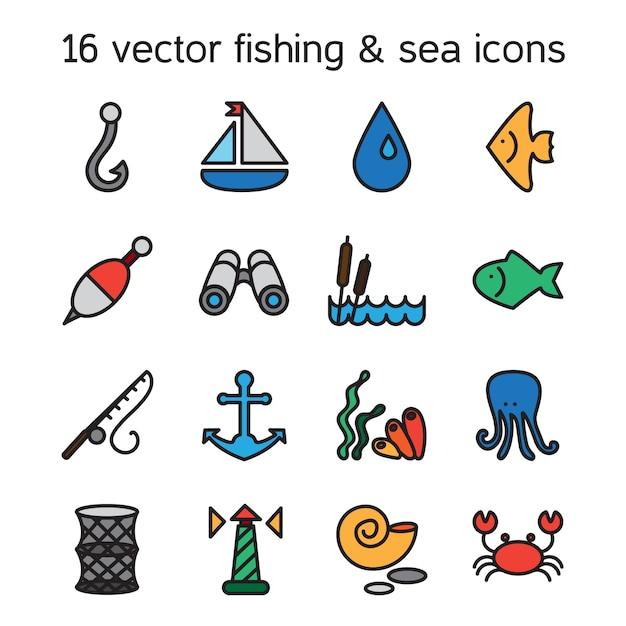隔離された海洋と釣りのアイコンが設定されます Premiumベクター